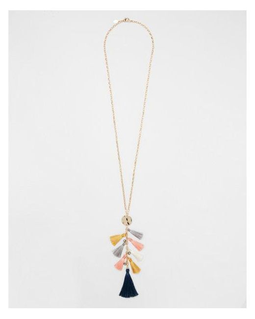 Express - Metallic Tassel Cluster Pendant Necklace - Lyst