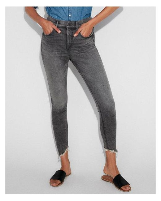 Express - Black Super High Waisted Denim Perfect Stretch+ Ankle Leggings - Lyst