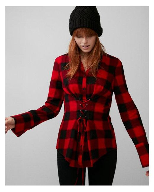 Express - Red Check Flannel Corset Shirt - Lyst