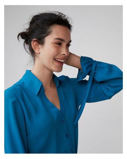 Express - Blue Slim Fit No Pocket Cinched Cuff Portofino Shirt - Lyst