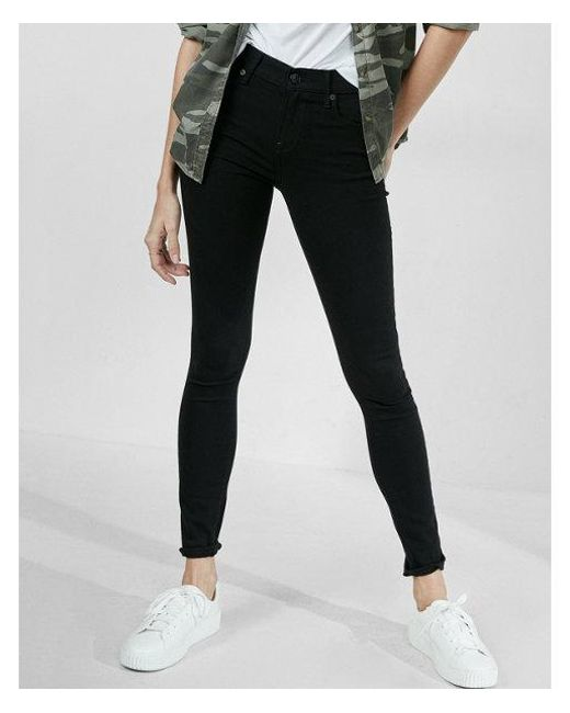 Express - Black Mid Rise Stretch Jean Leggings, Women's Size:6 - Lyst