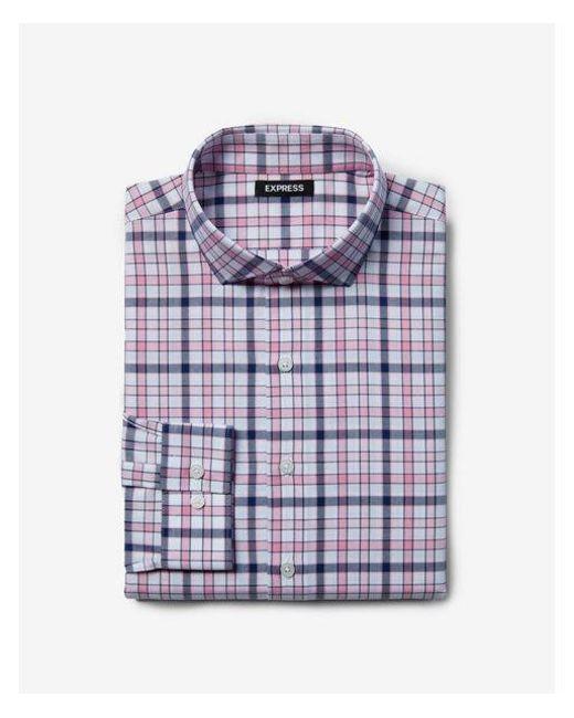Express - Pink Slim Plaid Dress Shirt for Men - Lyst