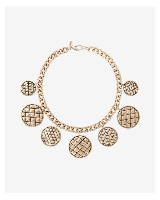 Express - Metallic Quilted Station Charm Necklace - Lyst