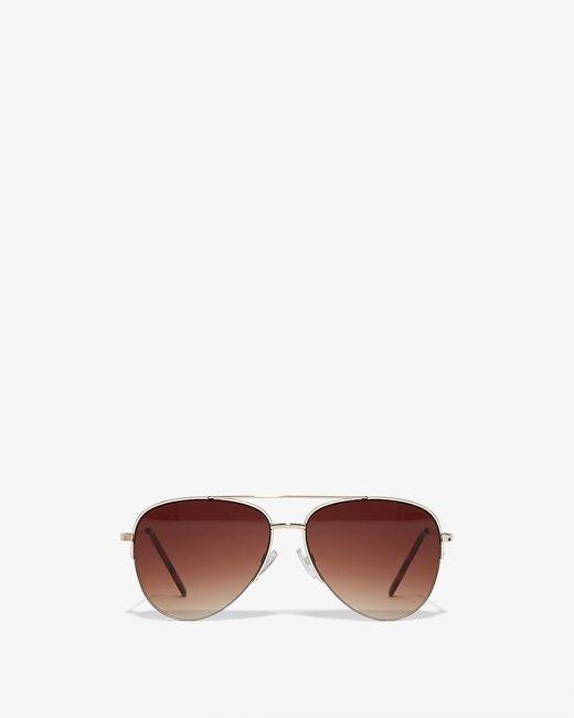 Express Metallic Rimless Aviator Sunglasses