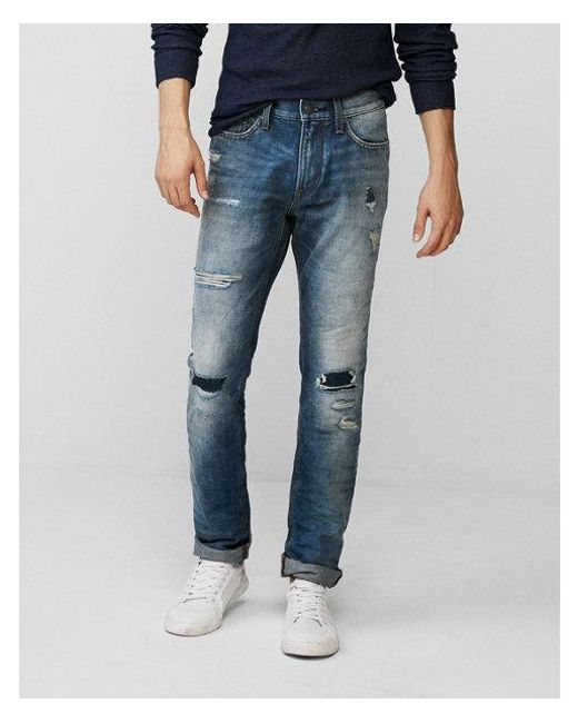 Express - Blue Slim Medium Wash Destroyed 100% Cotton Jeans, Men's Size:w29 L34 for Men - Lyst