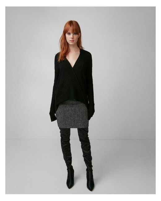 Express | Black Deep V-neck Surplice Tunic Sweater | Lyst