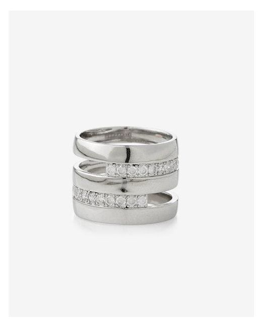 Express | Metallic Cut-out Wide Pave Metal Ring | Lyst