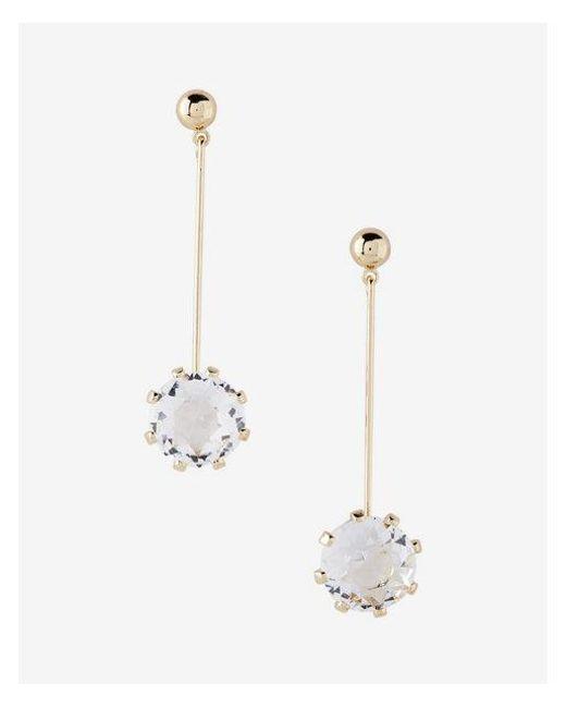 Express - Metallic Linear Stone Drop Earrings - Lyst