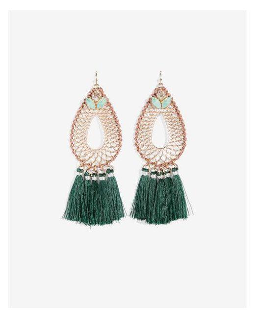 Express - Green Woven Tassel Teardrop Earrings - Lyst
