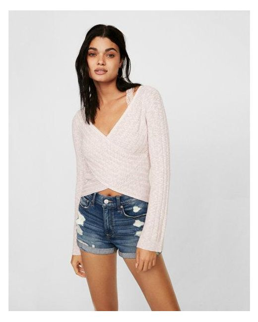 Express - Pink Marled Surplice Bell Sleeve Pullover Sweater - Lyst