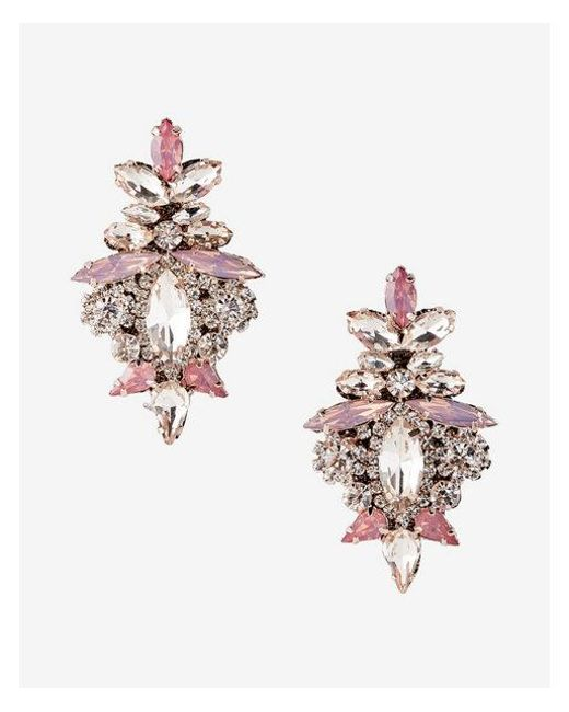 Express | Pink Ornate Stone Earrings | Lyst