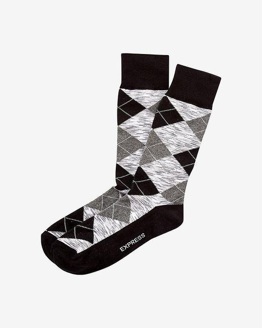Express | Black Space Dye Argyle Dress Socks for Men | Lyst