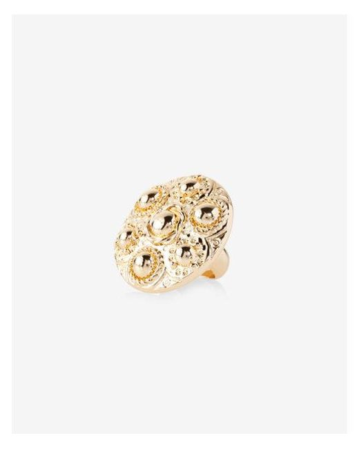 Express - Metallic Textured Cocktail Ring - Lyst
