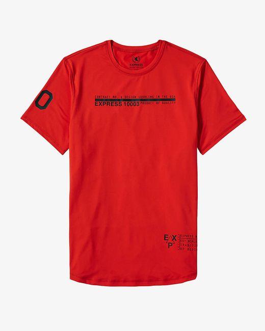 Express Orange Tech Graphic T Shirt In Red For Men Orange