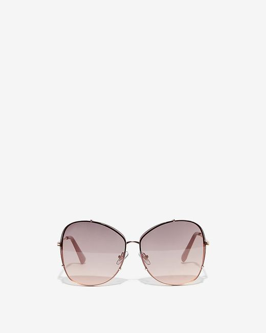 Express Metallic Oversized Rounded Square Frame Tinted Sunglasses
