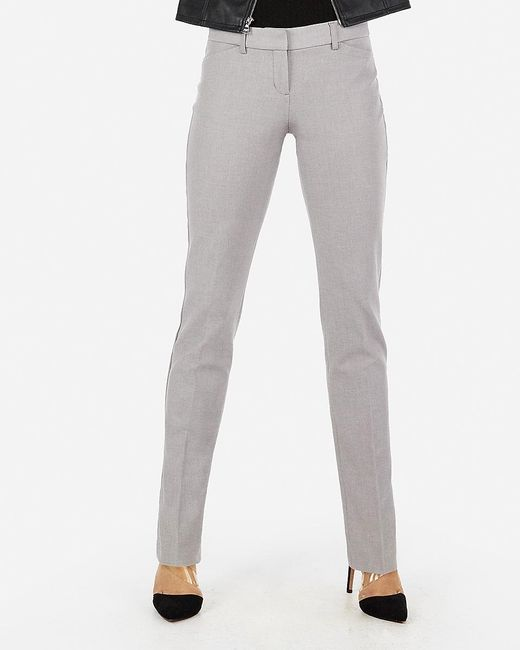 Express Low Rise Straight Editor Pant Gray