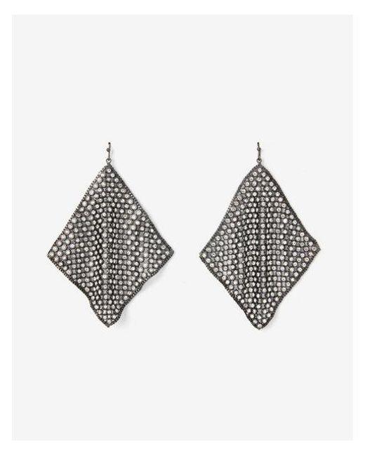 Express - Metallic Rhinestone Mesh Drop Earrings - Lyst