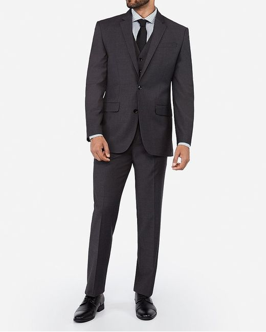 Express Classic Charcoal Wool Blend Wrinkle-resistant Performance Suit Jacket Gray for men