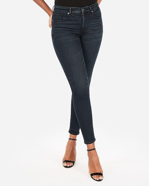 Express Blue High Waisted Denim Perfect Curves Dark Wash Jeggings,