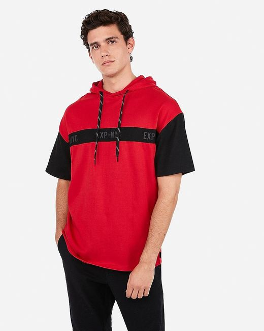 Express Nyc Drop Shoulder Jersey Hoodie Red for men
