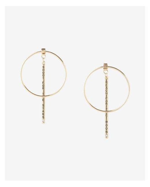 Express | Metallic Reach For The Moon Hoop Earrings | Lyst
