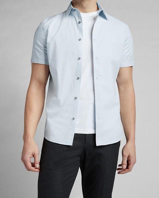 Express Slim Textured Stretch Cotton Short Sleeve Shirt Blue M for men