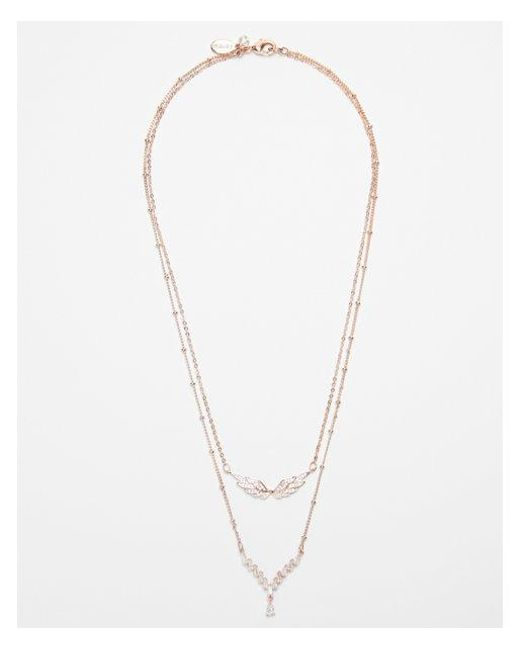 Express - Metallic Double Row Crystal Wing Necklace - Lyst