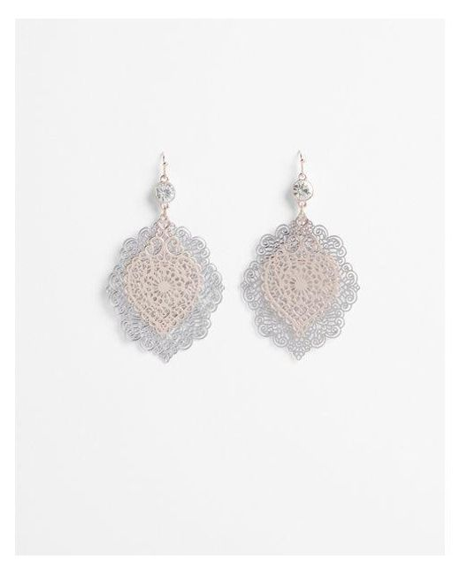 Express - Metallic Layered Filigree Drop Earrings - Lyst
