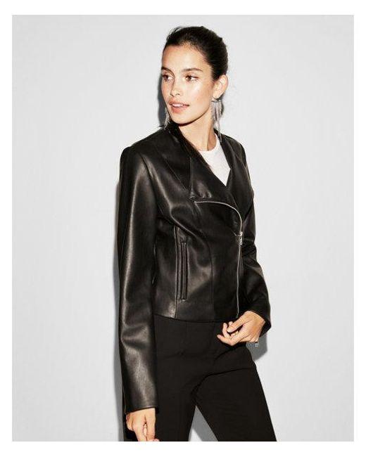 Express - Black (minus The) Leather Collarless Moto Jacket - Lyst
