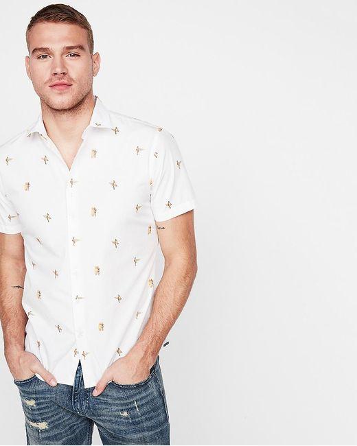 Express White Slim Surfer Girl Cotton Short Sleeve Shirt Neutral for men