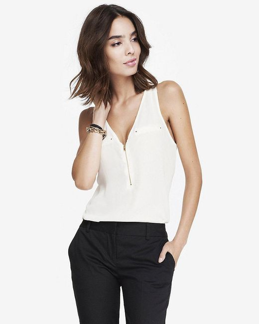 Express | White Zip Front Tank | Lyst