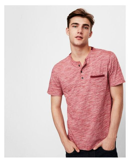 Express - Red Slub Jersey Contrast Henley for Men - Lyst
