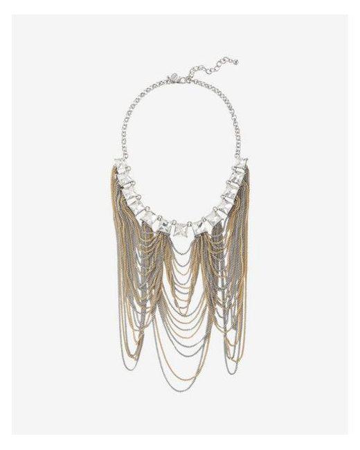 Express - Metallic Quare Stone Chain Statement Necklace - Lyst