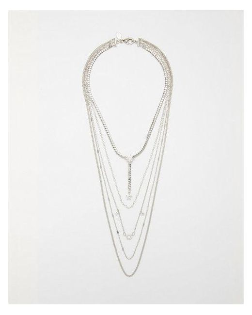 Express - Metallic Nested Chain Cubic Zirconia Star Necklace - Lyst