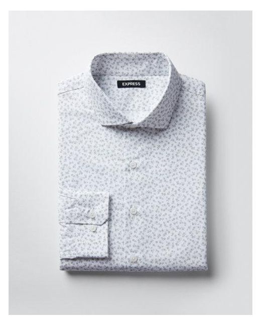 Express - Gray Slim Small Floral Dress Shirt for Men - Lyst