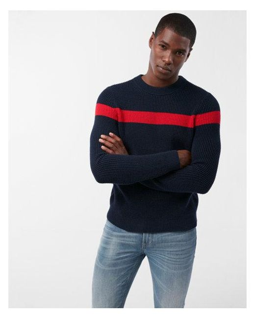 Express - Blue Chest Stripe Crew Neck Cotton Sweater for Men - Lyst