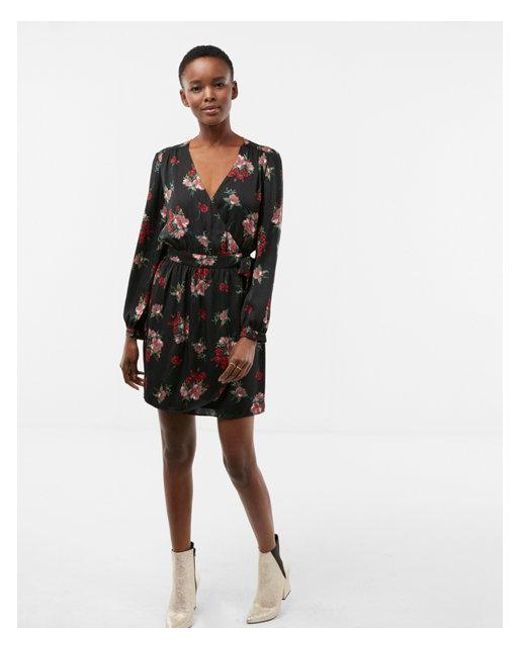 Lyst Express Floral Long Sleeve Satin Wrap Dress In Black