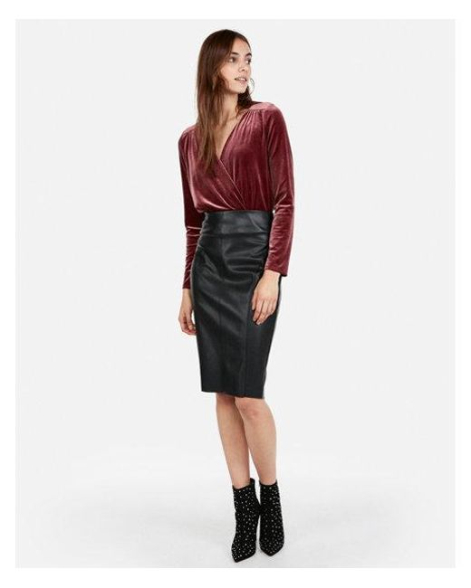 Express - Purple Velvet Surplice Thong Bodysuit - Lyst