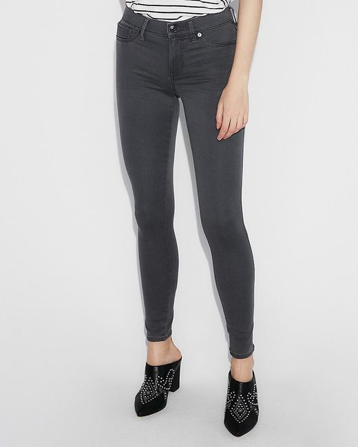 Express Mid Rise Gray Jeggings, Size:18 Short