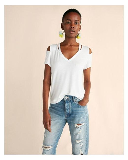 Express - White Slash Neck Deep V Cold Shoulder Tee - Lyst