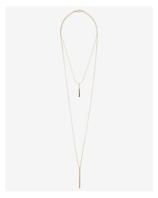 Express - Metallic Metal Hi-lo Necklace - Lyst