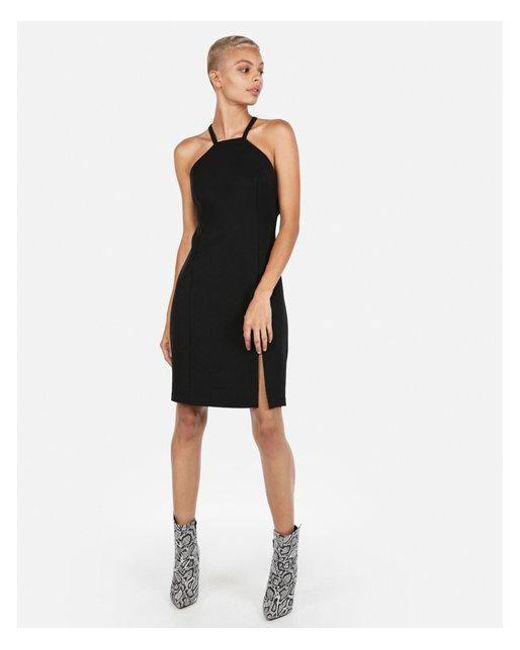 e44e26af Express High Neck O-ring Dress in Black - Lyst