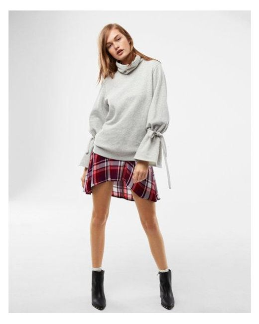 Express - Gray Heathered Tie Sleeve Funnel Neck Sweatshirt - Lyst