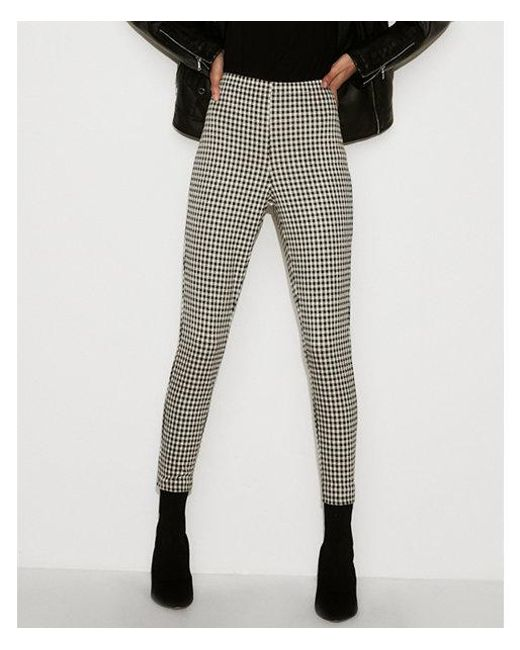 e5973e4114d7d Lyst - Express High Waisted Cropped Gingham Pull-on Leggings in Black