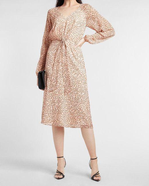 Express Multicolor Cheetah Tie Front Midi Dress Pink Print