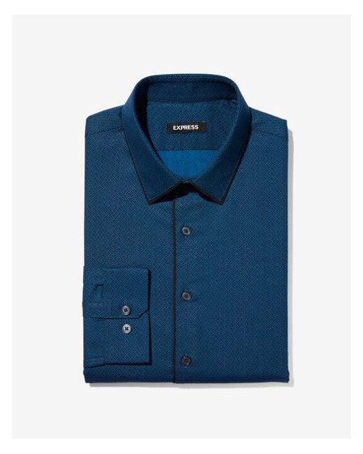 Express - Blue Slim Piped Print Dress Shirt for Men - Lyst
