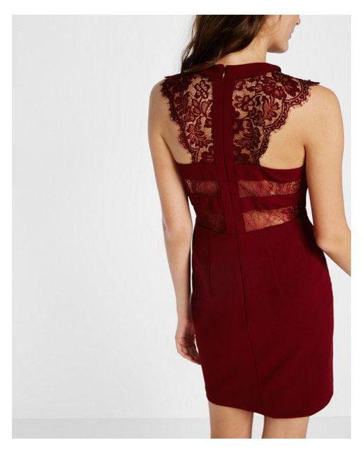 Express Red Sleeveless Lace Yoke Sheath Dress