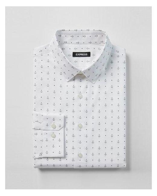 Express - Gray Slim Fit Anchor Print Dress Shirt for Men - Lyst