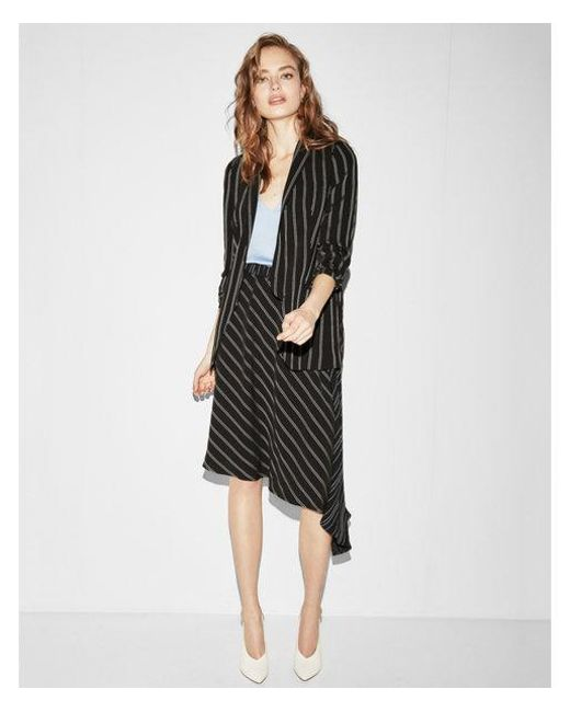 Express - Black Multi Directional Stripe Asymmetrical Midi Skirt - Lyst