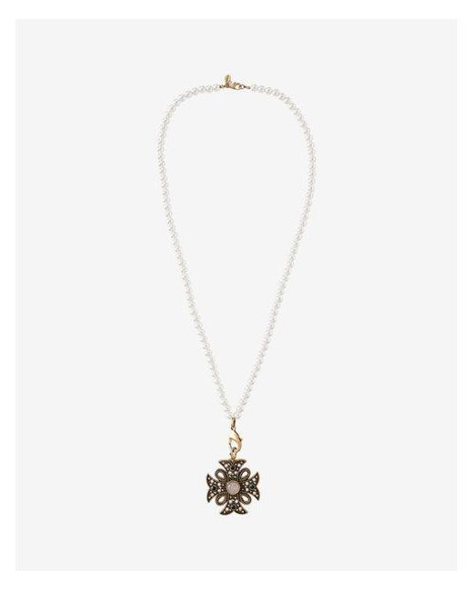 Express - Metallic Embellished Maltese Cross Pendant Necklace - Lyst